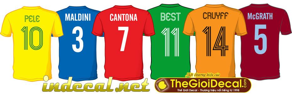 In áo đá bóng, áo thể thao, áo khoác đẹp, lấy liền, bền màu, không tróc.